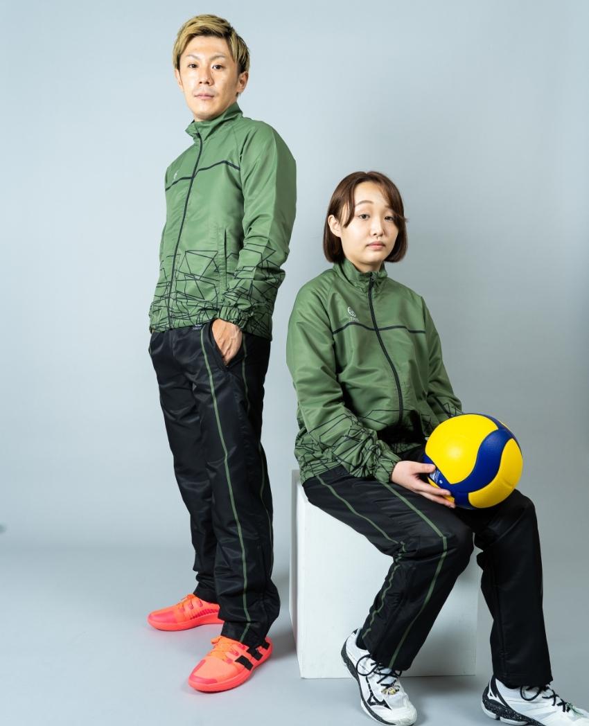 バレーボール用ウィンドブレーカー画像 側面・女性・男性モデル|トレスバレーボール