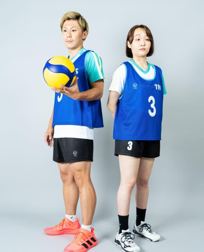 バレーボール用オリジナルビブス画像 側面・女性・男性モデル|トレスバレーボール