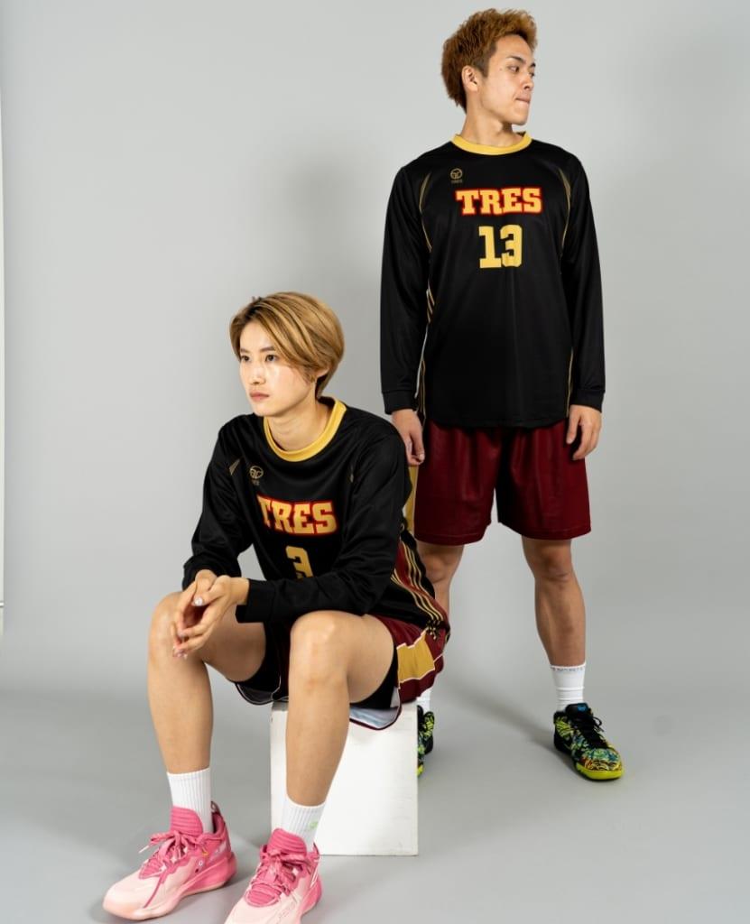 バスケットボール用シューティングシャツ画像 正面・女性・男性モデル トレスバスケットボール