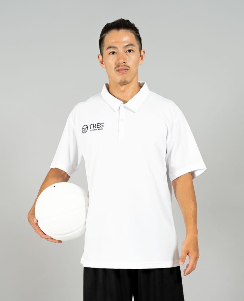バスケットボール用イージードライシャツ ポロシャツ画像 正面・男性モデル|トレスバスケットボール