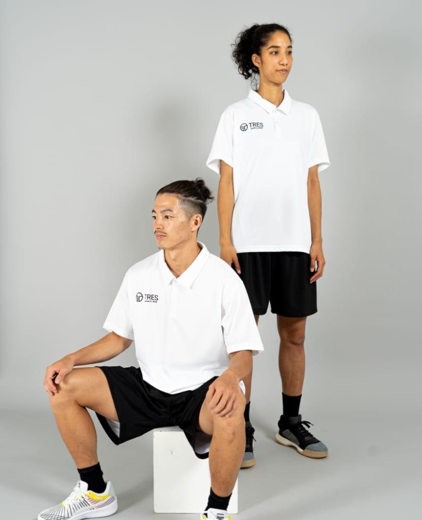 バスケットボール用イージードライシャツ ポロシャツ画像 正面・女性・男性モデル|トレスバスケットボール
