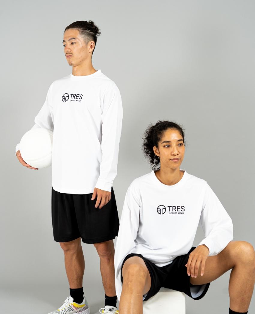 バスケットボール用イージードライシャツ ロンT画像 正面・女性・男性モデル|トレスバスケットボール