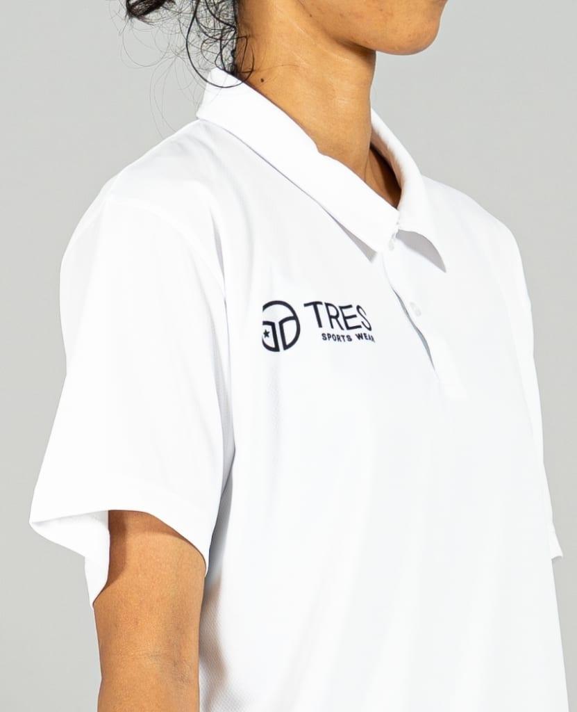 バスケットボール用イージードライシャツ ポロシャツ画像 側面・女性モデル|トレスバスケットボール