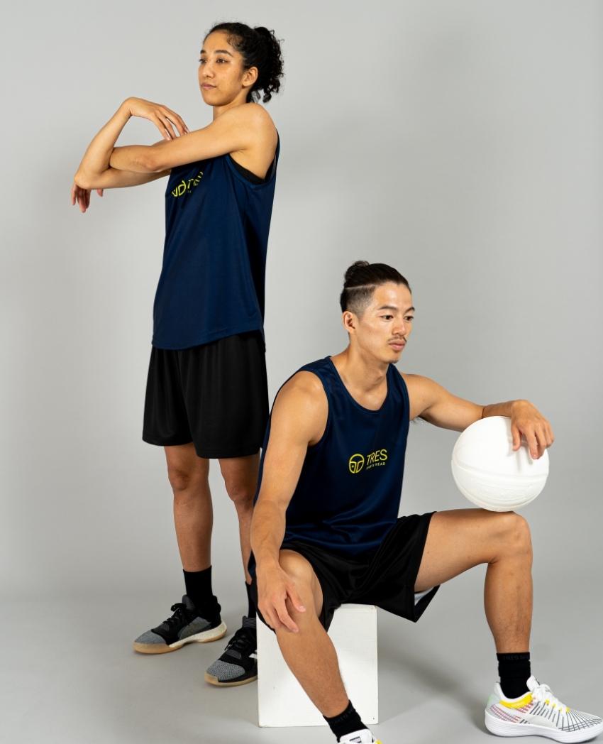 バスケットボール用イージードライシャツ タンクトップ画像 正面・女性・男性モデル トレスバスケットボール
