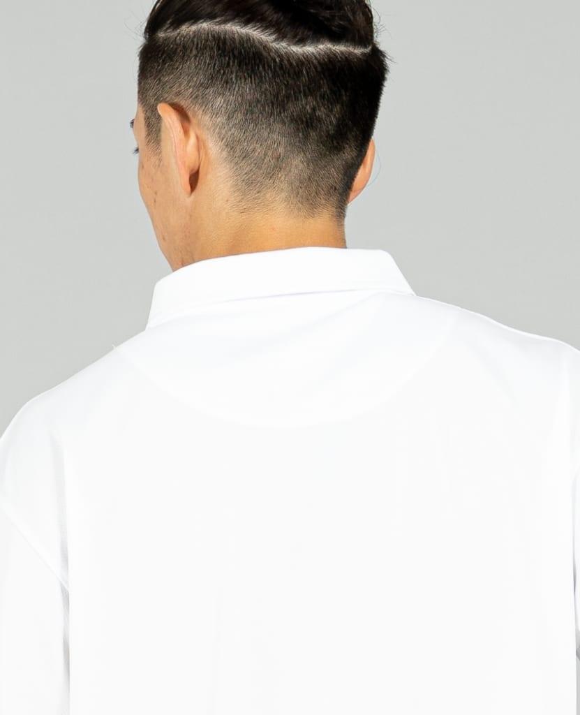 バスケットボール用イージードライシャツ ポロシャツ画像 背面・男性モデル|トレスバスケットボール